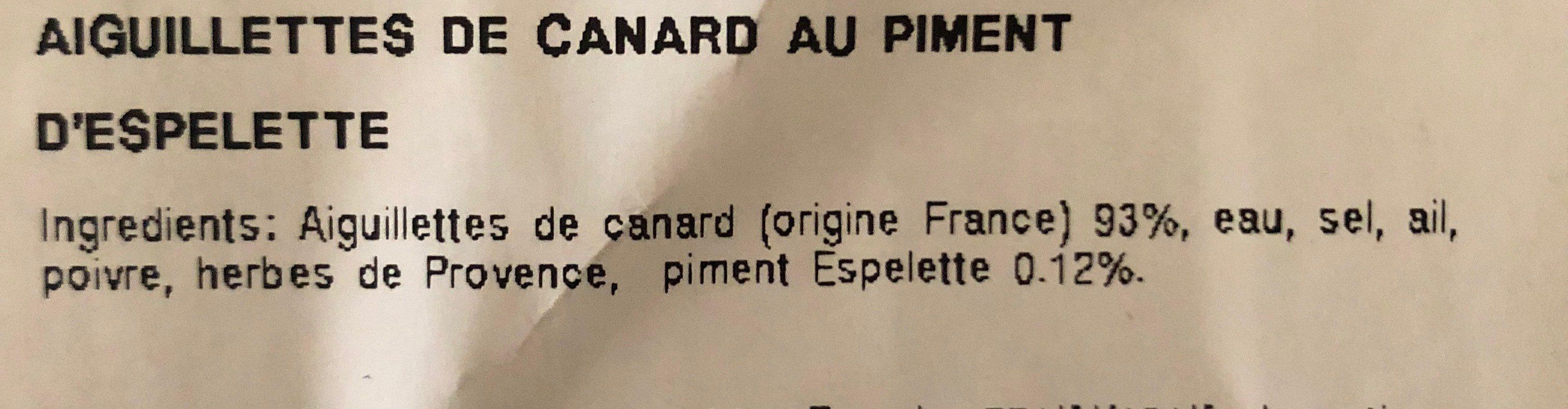 Aiguillettes de canard - Ingredients - fr