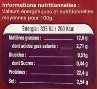 Le Saumon - Norvège - Nutrition facts - fr