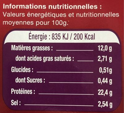 Le Saumon - Norvège - Informations nutritionnelles