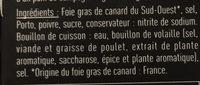 Foie gras de canard entier du sud ouest cuit au torchon - Ingredients