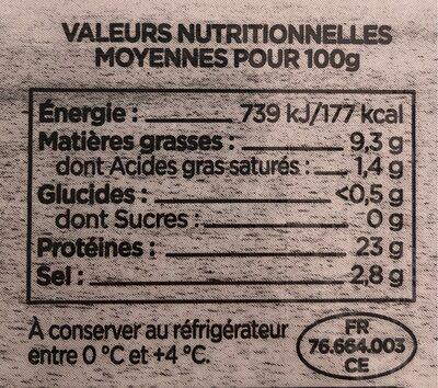 Saumon fumé Ecosse - Voedingswaarden