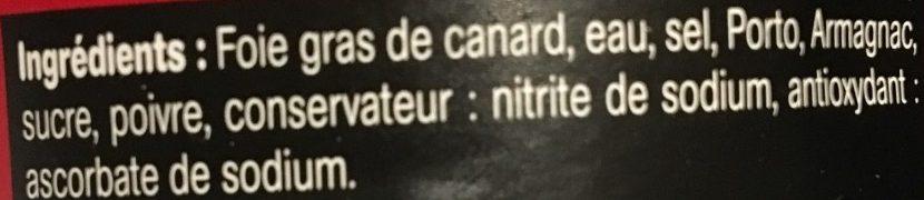 Bloc de Foie Gras de Canard - Ingrédients - fr