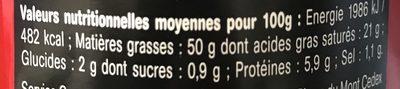 Bloc de Foie Gras de Canard - Informations nutritionnelles - fr