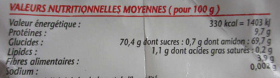 Farine de blé - tous usages - Informations nutritionnelles