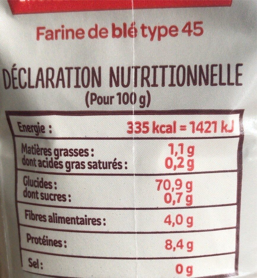 L'Originale - Farine de blé fluide T45 - Nutrition facts - fr