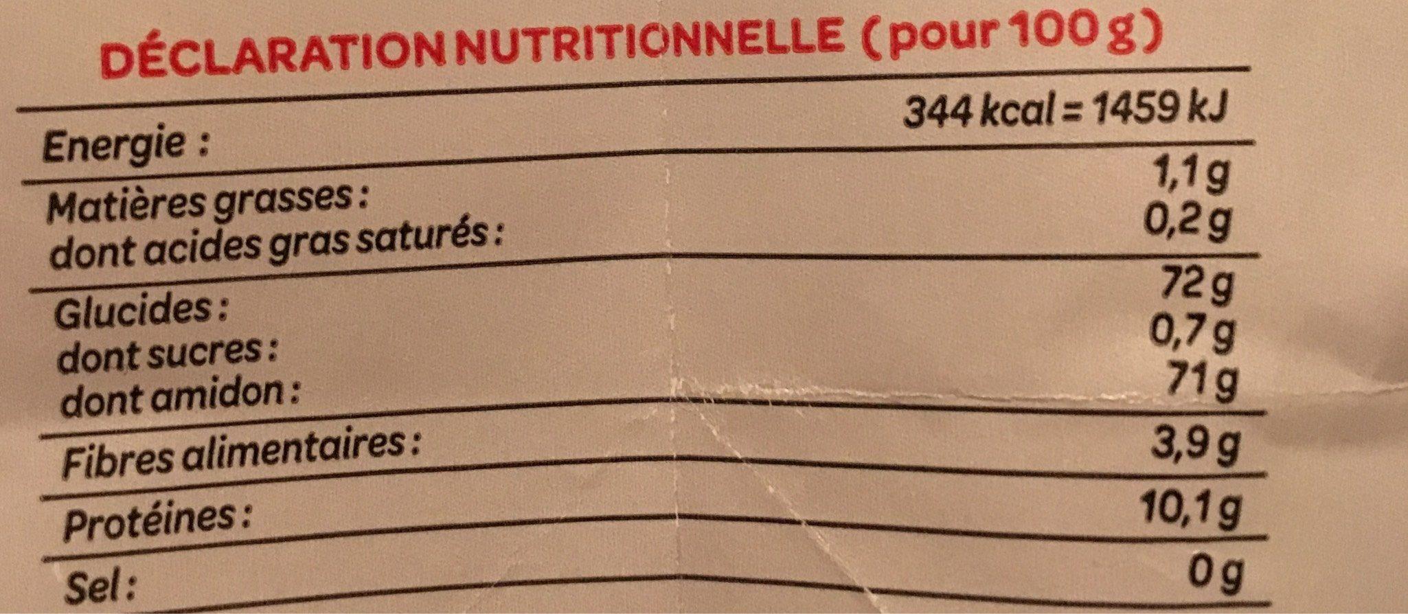 Farine de ble fluide PROMO : 25% - Informations nutritionnelles