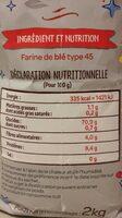 Farine de blé fluide garantie anti-grumeaux (format familial) - Informations nutritionnelles - fr