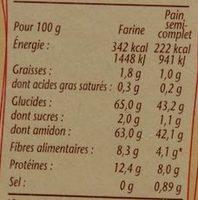Farine de blé complète - Voedigswaarden
