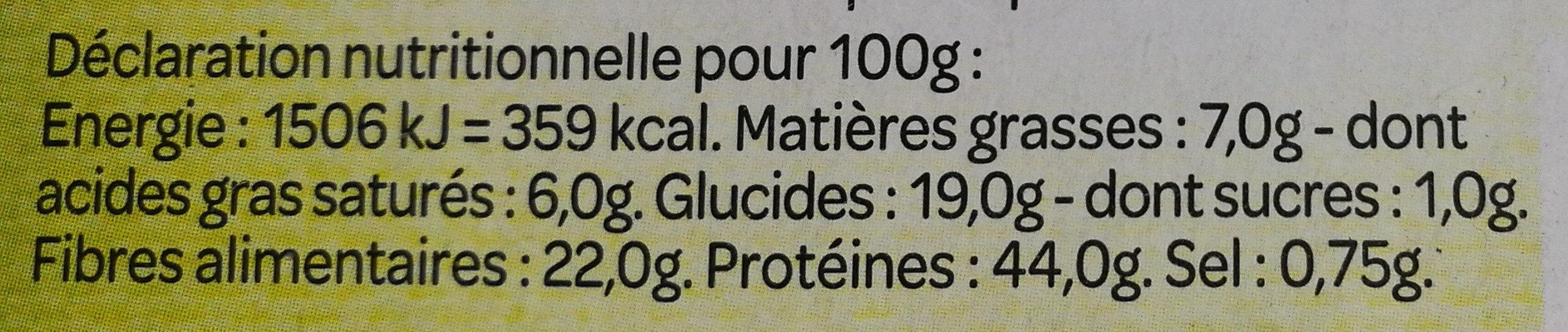 Ma levure boulangère - Informations nutritionnelles - fr
