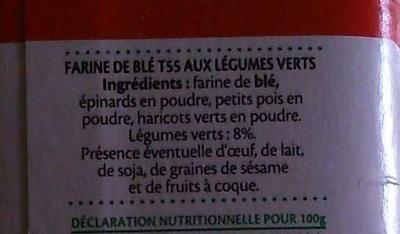 Farine aux légumes verts - Ingrédients