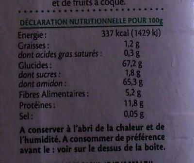 Farine aux légumes verts - Nutrition facts