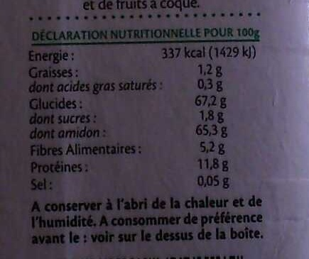 Farine aux légumes verts - Informations nutritionnelles - fr