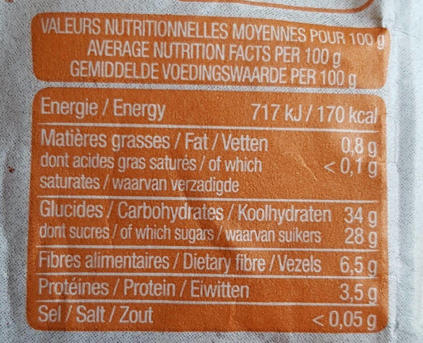 Abricots fondants - Información nutricional - fr