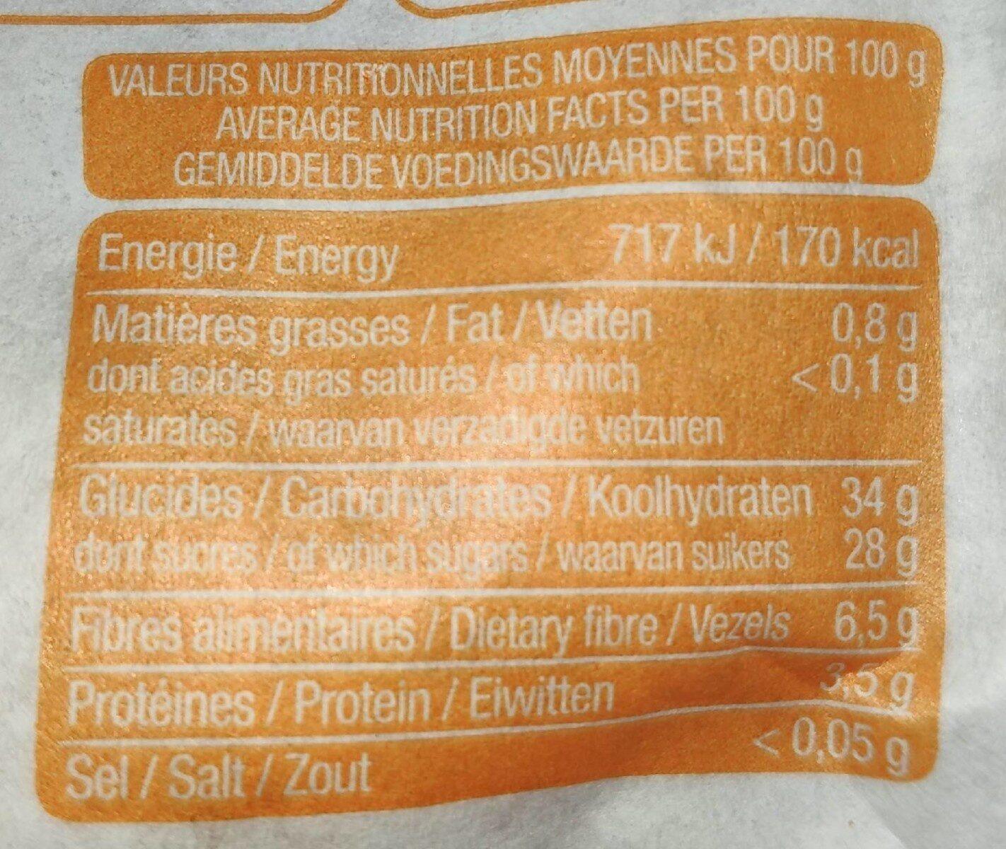 Abricots fondants - Nutrition facts - en