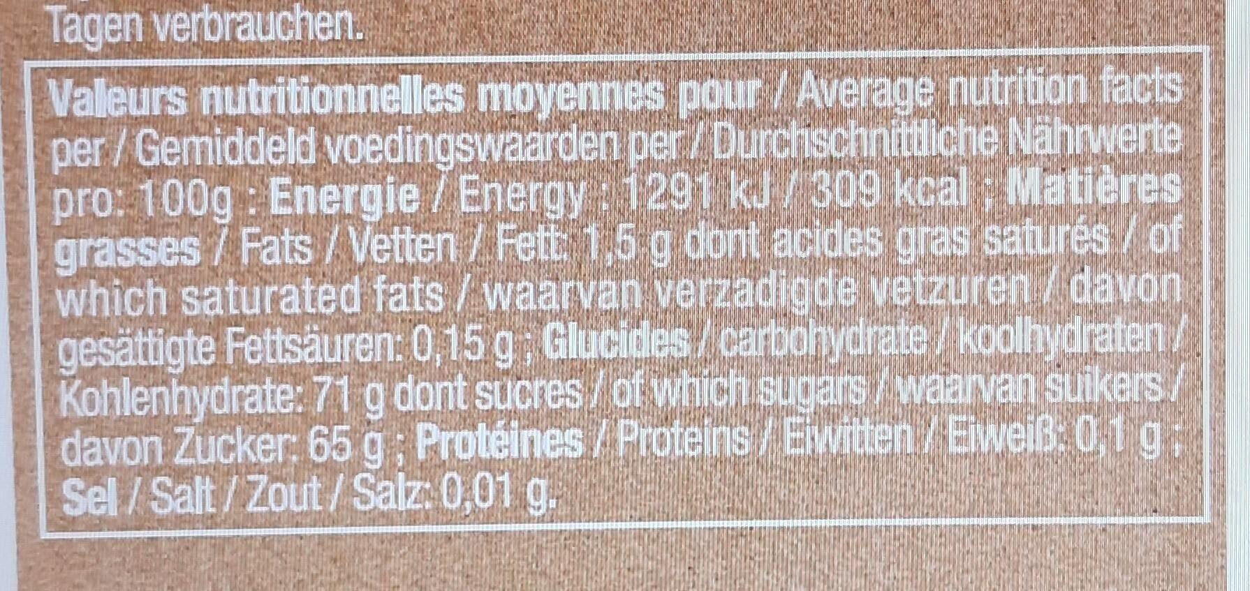 Cranberries bio - Voedingswaarden