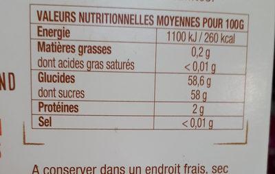 Dattes Deglet Nour - حقائق غذائية - fr
