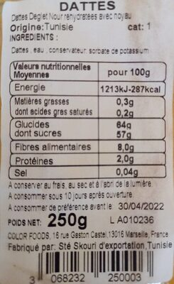 Dattes - Nutrition facts - fr