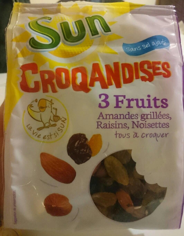 Croquandises - 3 Fruits Amandes Grillées, Raisins, Noisettes - Produit