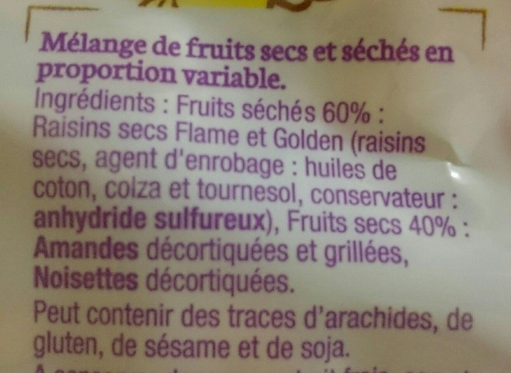 Croquandises - 3 Fruits Amandes Grillées, Raisins, Noisettes - Ingrédients