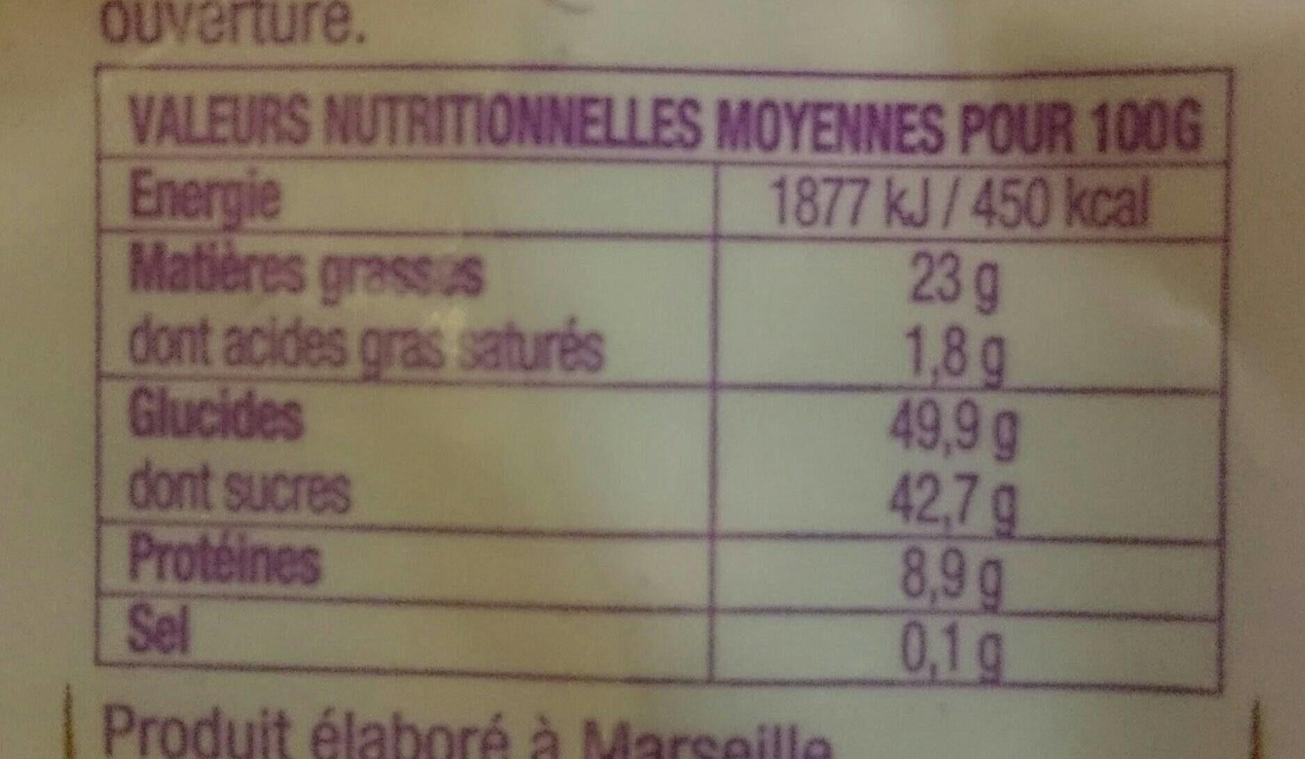 Croquandises - 3 Fruits Amandes Grillées, Raisins, Noisettes - Informations nutritionnelles