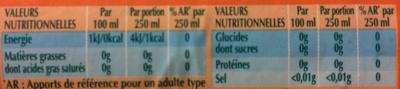 Sans sucres Agrumes - Informations nutritionnelles