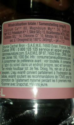 evian bottle 500ml - Ingredients - fr