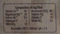 Carton de 24 Bouteilles d'Eau Minérale Naturelle - Informations nutritionnelles - fr