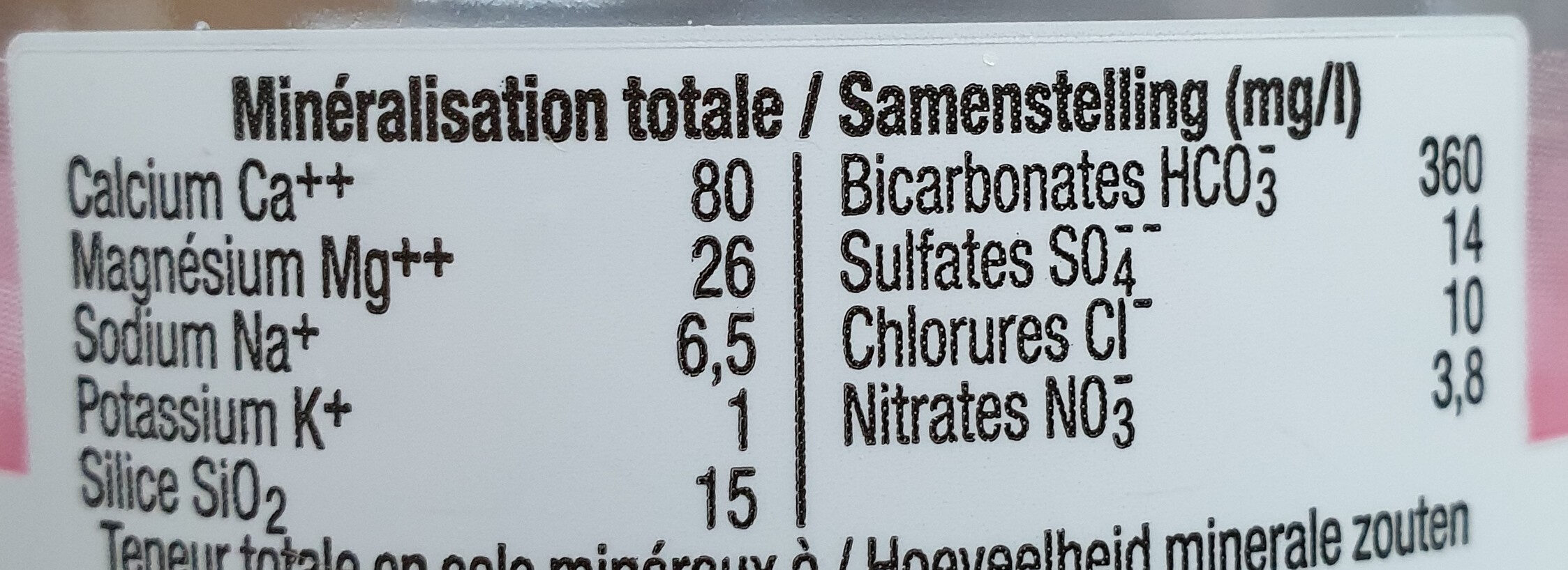 Evian - Informations nutritionnelles - fr