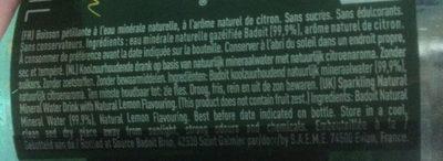 Badoit Zest Citron - Ingredienti - fr