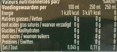Boisson pétillante à l'eau minérale naturelle à l'arôme naturel de menthe - Nutrition facts - fr
