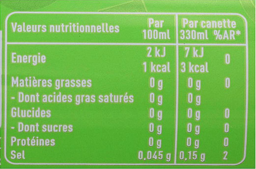 Badoit Citron Vert - Informations nutritionnelles