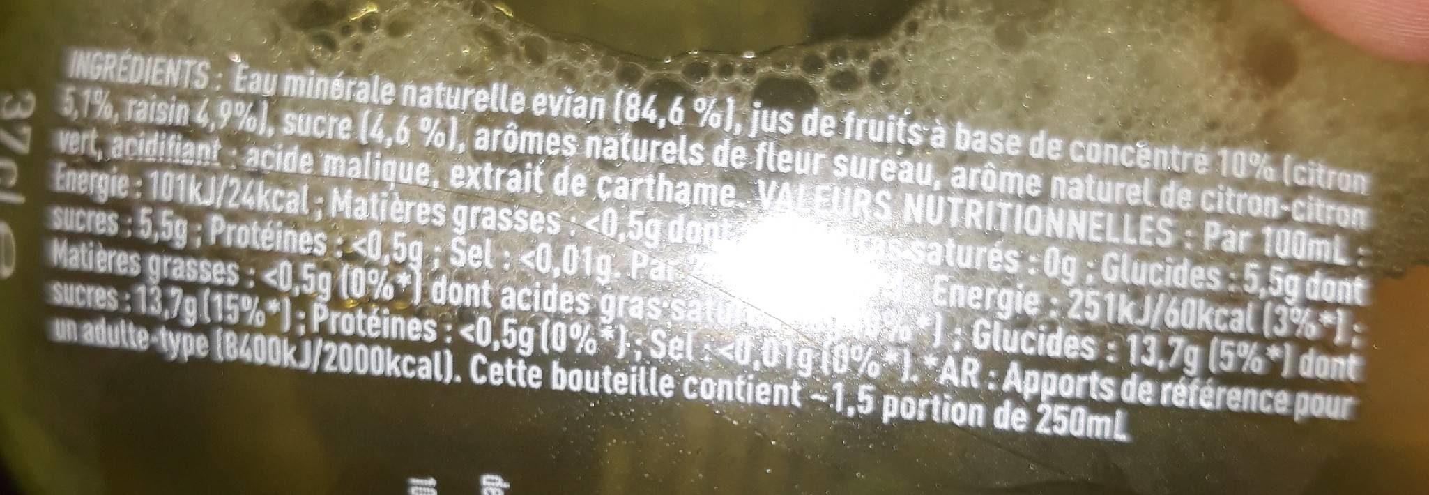Evian fruits & plantes eau des alpes + citron + sureau - Voedigswaarden