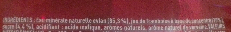 Evian fruits et plantes - Ingredients