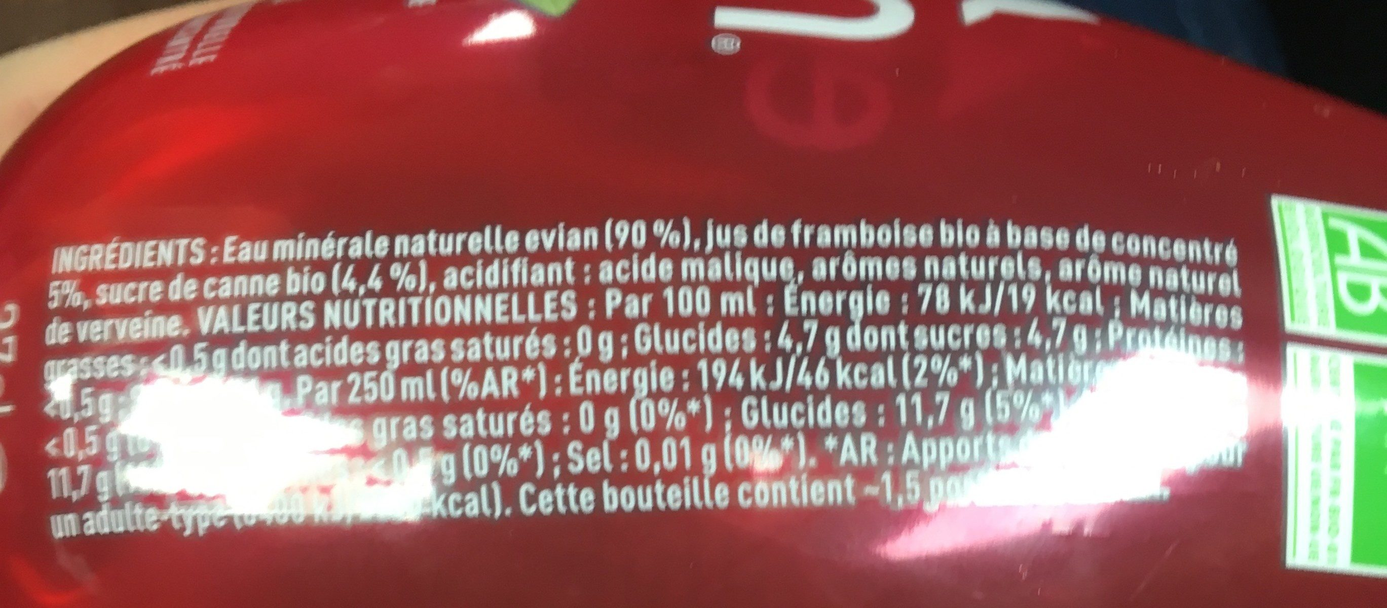 Evian Fruits et Plantes - Ingredients