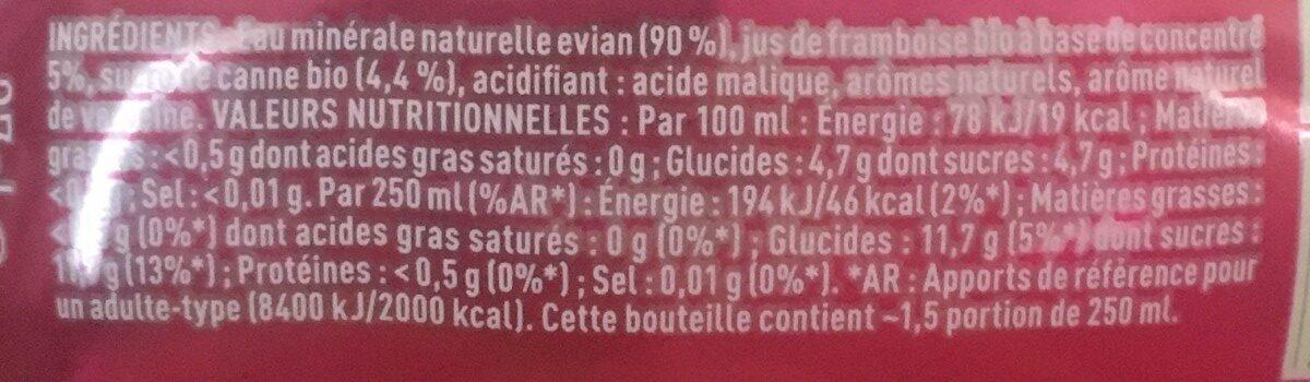 Evian Framboise + Verveine - Ingrédients