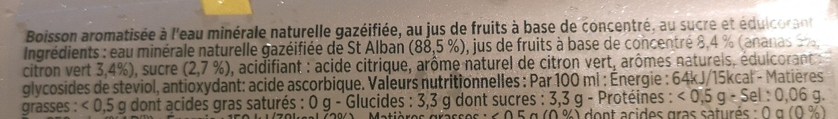Bulles de fruit ananas touche de citron vert - Ingrédients - fr
