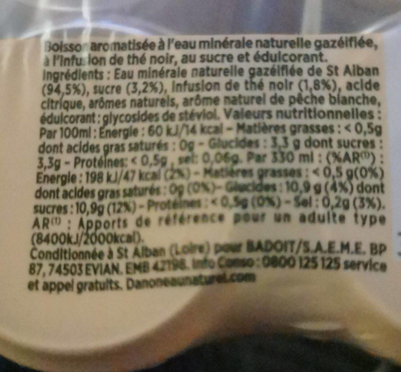 Badoit thé pêche - Nutrition facts - fr
