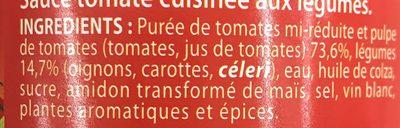 Sauce Tomate cuisinée aux légumes - Ingrédients