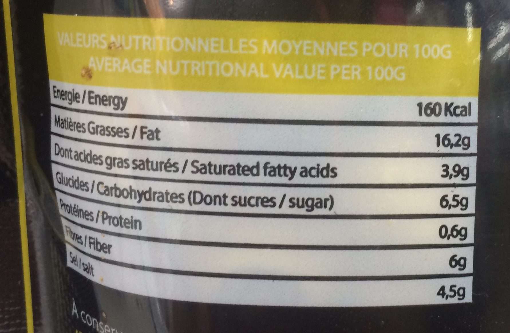 Olives vertes denoyautees - Informations nutritionnelles