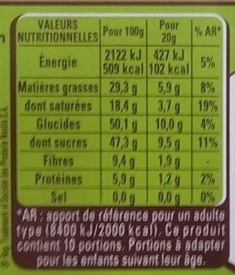 Menier patissier - Nutrition facts - fr