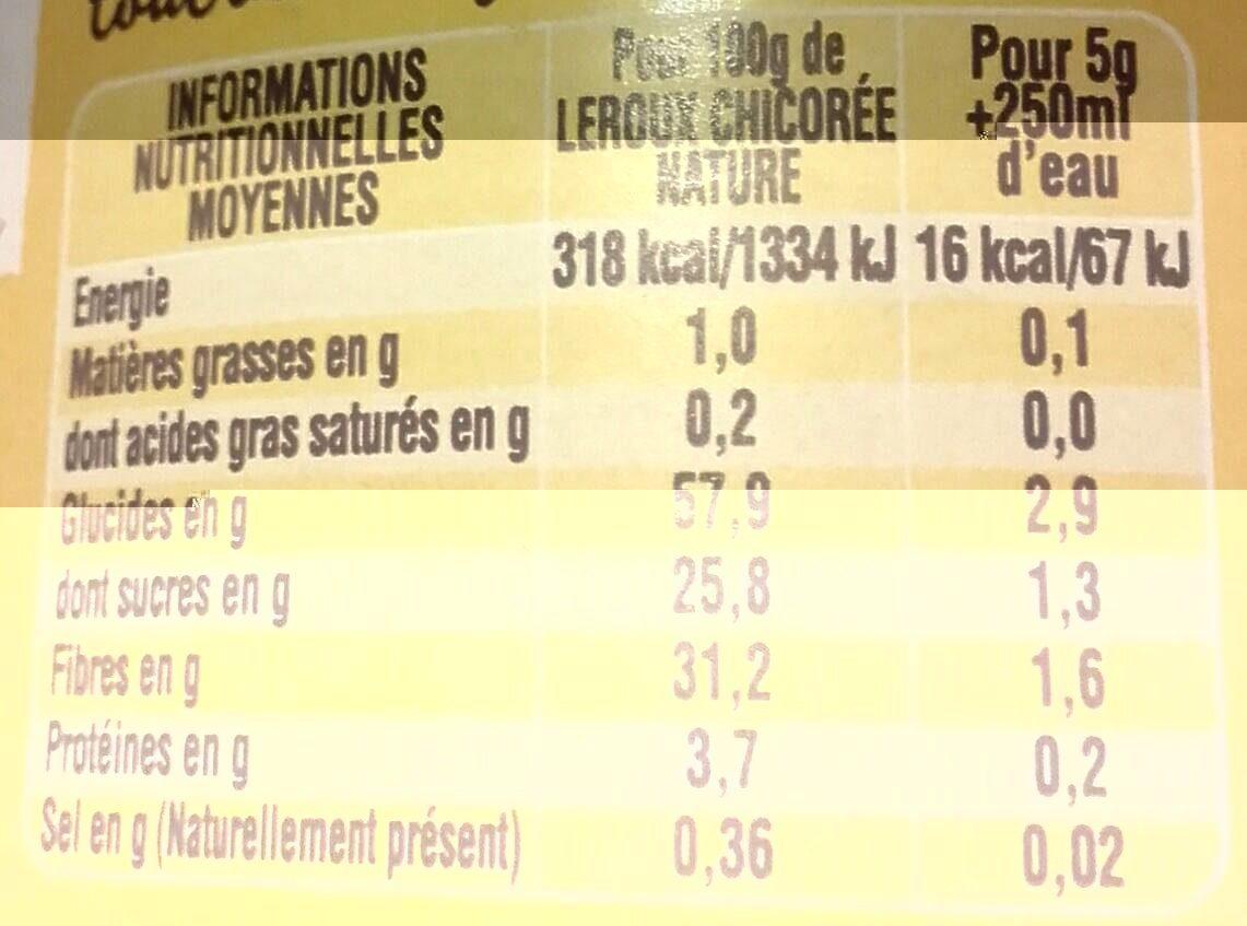 Chicorée soluble nature - Informations nutritionnelles - fr