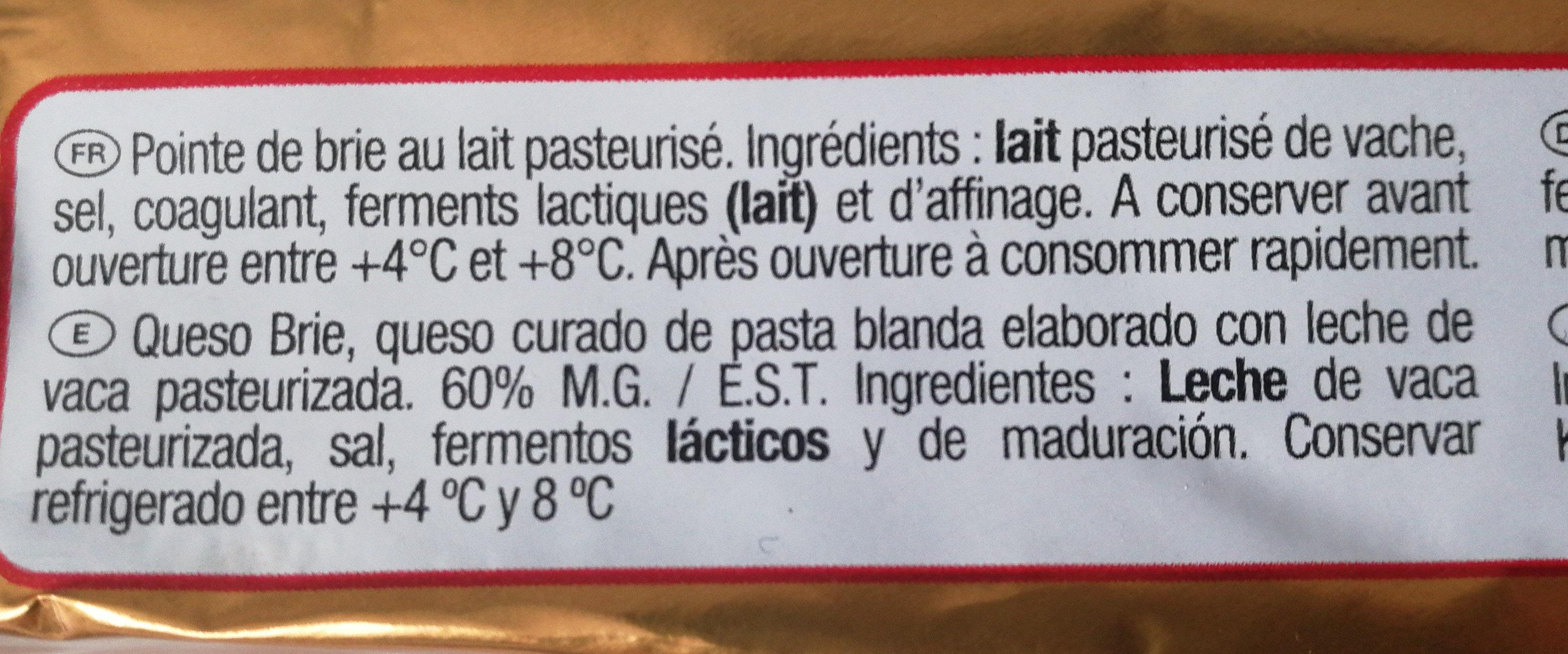 Brie Plaisir de Roi - Ingredients