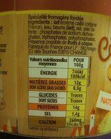 La cancoillotte - Informations nutritionnelles - fr