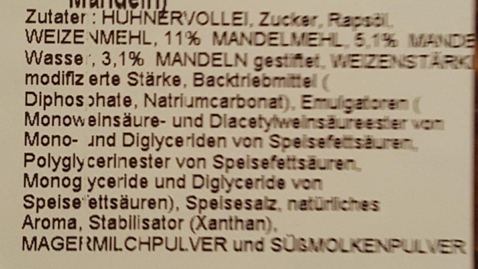 Weihnachtsbaum (Rührkuchen mit Mandeln) - Ingredients - de