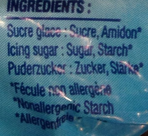 Sucre glace 0000 - Ingredientes