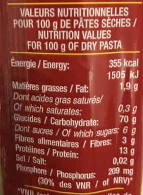 Spaghetti, Al dente en 3 minutes - Informations nutritionnelles