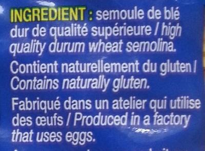 Torsettes, Al dente en 3 minutes - Ingrédients - fr