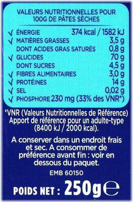 Coquillettes aux œufs frais - Nutrition facts