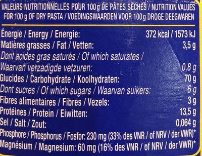 Torsettes aux œufs frais - Informations nutritionnelles - fr
