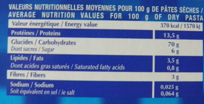 Spaghetti aux œufs frais (Format Familial) - Informations nutritionnelles